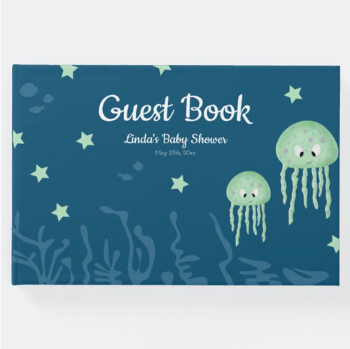 Personalized Jellyfish Neutral Twins Baby Shower Guest Book