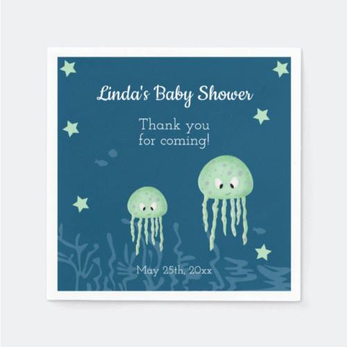Turquoise Jellyfish Marine Themed Baby Shower Menu