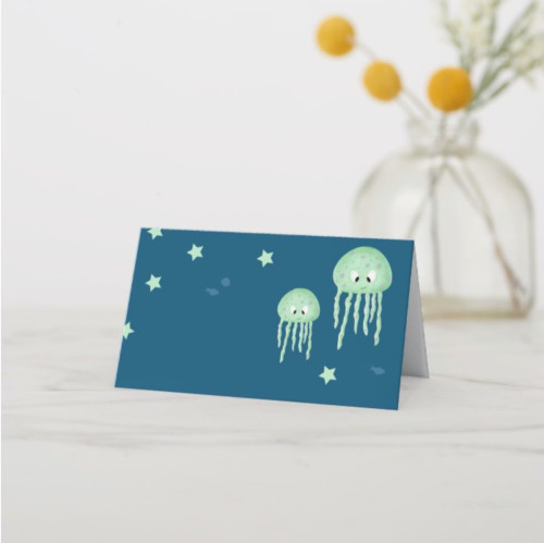 Cute Green Jellyfish Under the Sea Party Place Card