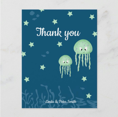 Personalized Green Jellyfish Neutral Thank You Postcard