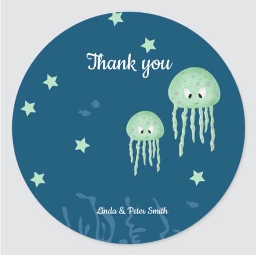 Blue Neutral Under the Sea Jellyfish Baby Shower Classic Round Sticker