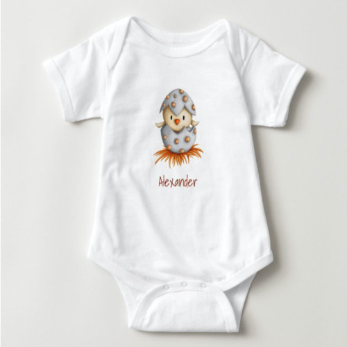 Adorable neutral body suit with a bird hatching baby bodysuit