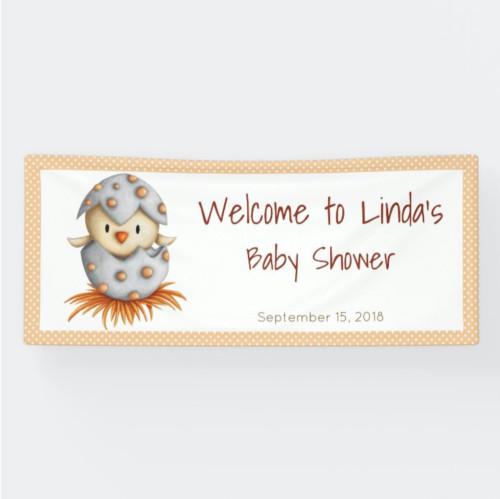 Yellow Baby Bird Neutral Baby Shower Banner