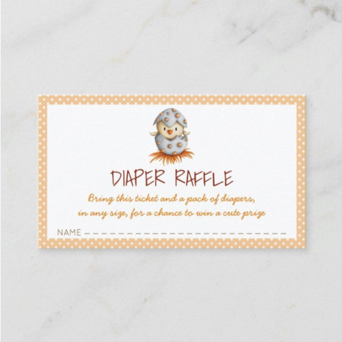 Neutral diaper raffle card with a chick hatching