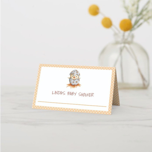 Neutral Baby Shower place cards with a baby bird