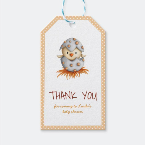 Neutral Baby Shower Thank you tag with a chick