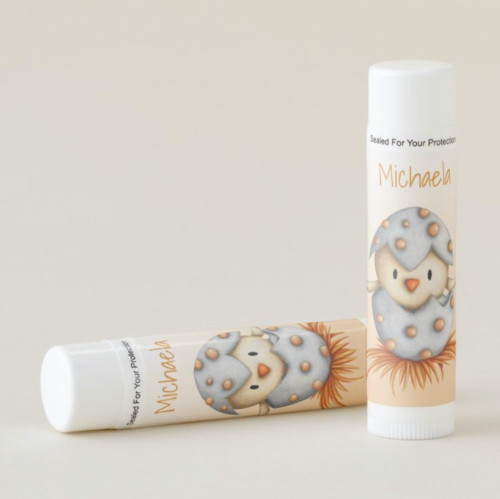 Personalized little bird hatching from egg Lip Balm