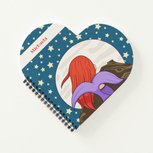 Cute Mermaid in the Moonlight Personalized Heart Notebook