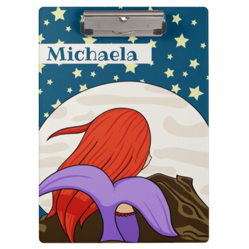 Cute Mermaid in the Moon Personalized Clipboard
