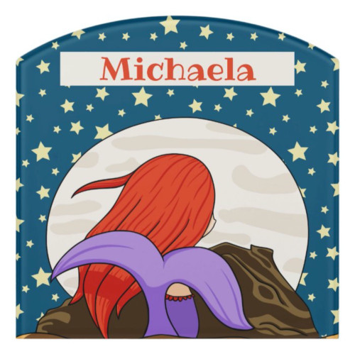Whimsical Mermaid Staring at the Moon Starry Night Door Sign