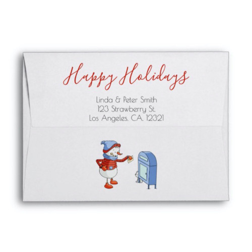 Cute Snowman Posting a Letter Happy Holidays envelope