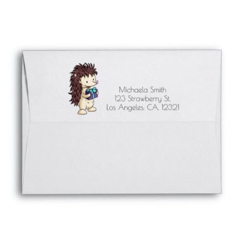 Cute Hedgehog with Present Kids Birthday envelope