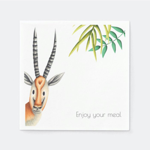 Floral Minimalist African Antelope Personalized Napkins
