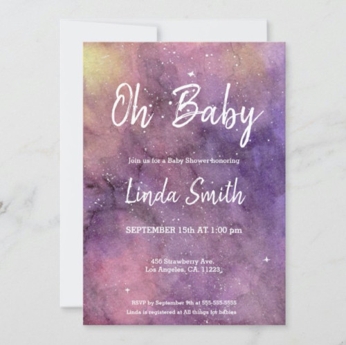 Purple Hand Painted Watercolor Galaxy Baby Shower Invitation