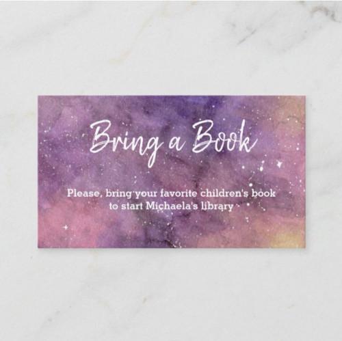 Galaxy Bring a Book Watercolor Baby Shower Enclosure Card