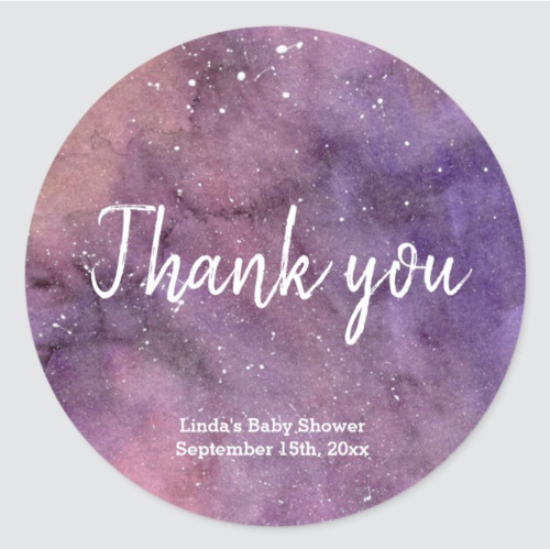 Purple Galaxy Watercolor Baby Shower Thank You Classic Round Sticker