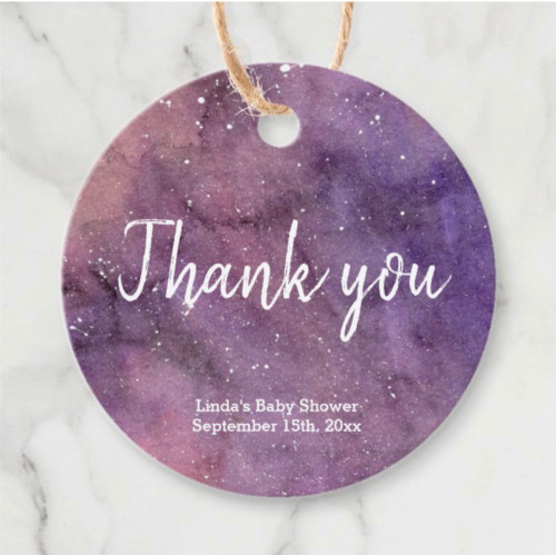 Purple Galaxy Watercolor Baby Shower Thank You Favor Tags