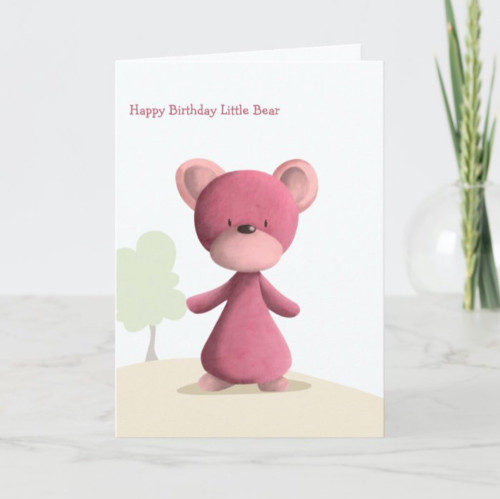 Cute Pink Bear Personalized Happy Birthday Kids Card
