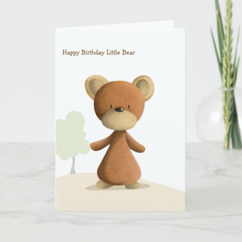 Cute Brown Bear Personalized Happy Birthday Kids Card