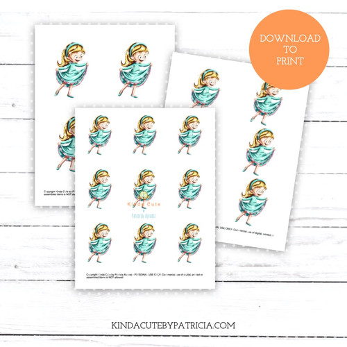 Girl Dancing in Teal Dress Pre-colored Printable Pages