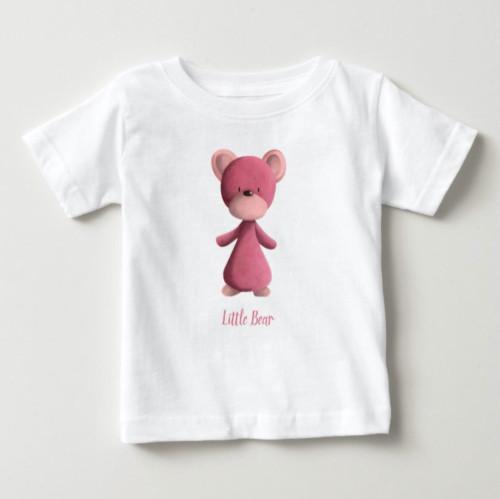 Pink Little Bear Personalized Kids Baby T-Shirt