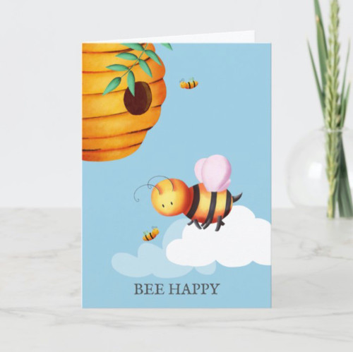 Bee happy beehive and bees cute illustrated card