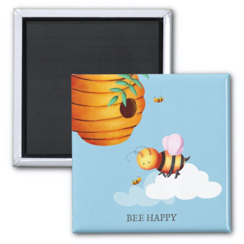 Beehive and honey bees illustrated personalized magnet