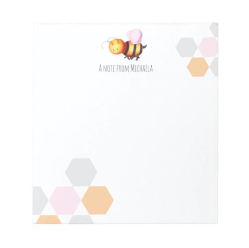 Minimalist Pastel Honey Bee Personalized Notepad