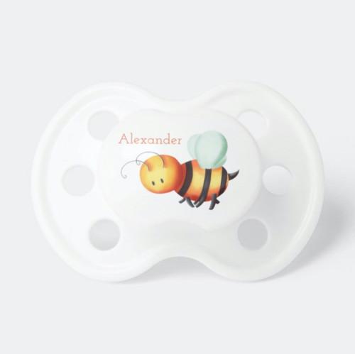 Cute honey bee cartoon personalized neutral Pacifier