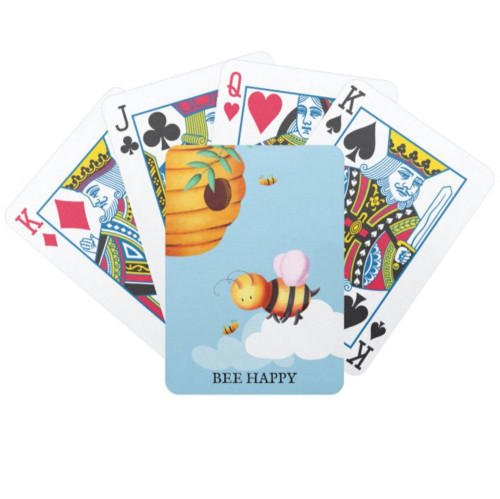 Personalized Cute Bee and Beehive Blue Bicycle Playing Cards