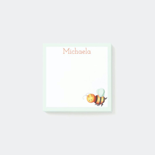 Blue and white cute honey bee personalized Post-it Notes