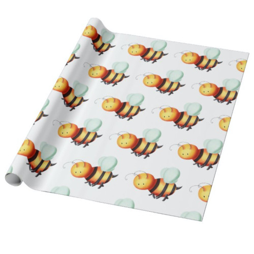 Cute Honey Bee with Blue Wings Patterned Wrapping Paper