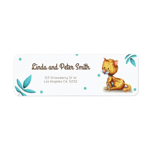 Cute blue floral yellow cat sitting label