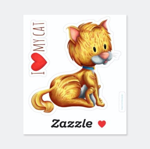I love my cat little brown cat sitting vinyl Sticker