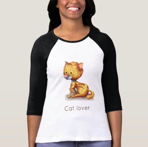 Cat lover illustrated yellow cat sitting T-Shirt
