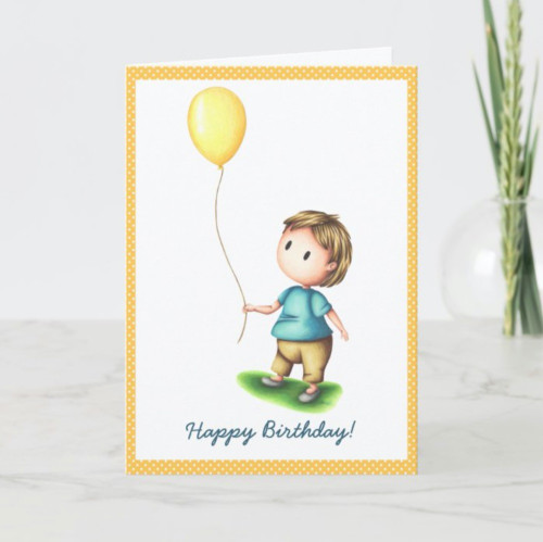 Polka dot baby boy with yellow balloon birthday Card