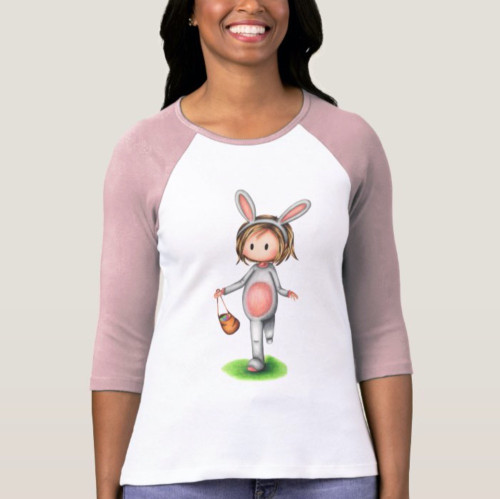 Cute easter T-shirt with a girl in a bunny costume