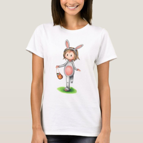 Girl in a bunny costume Easter t-shirt