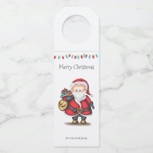 Personalized Christmas Santa Claus with presents Bottle Hanger Tag