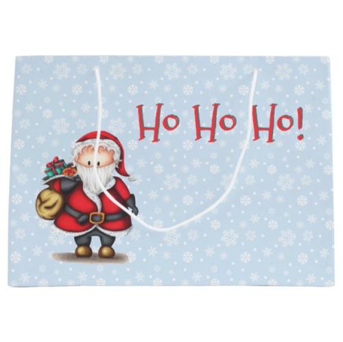 Ho Ho Ho Santa Claus with Presents Holiday Large Gift Bag