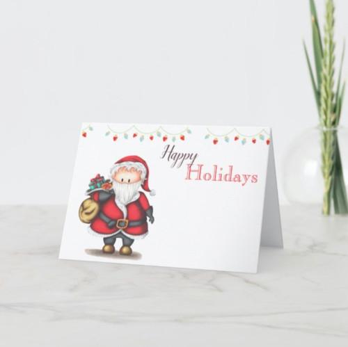 Happy Holidays Christmas card with Santa Claus