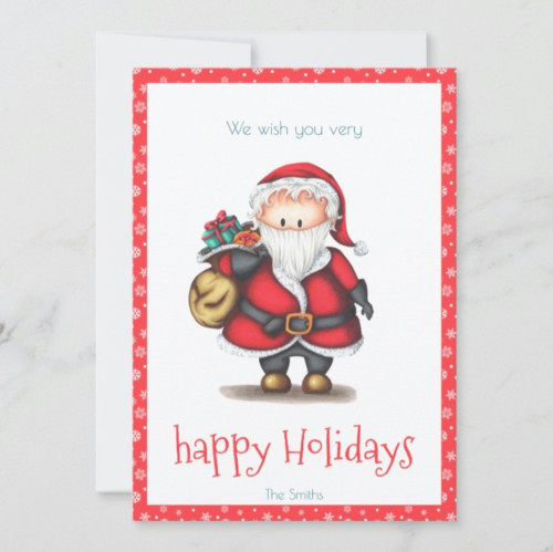 Cute Holiday card with Santa Claus with presents.