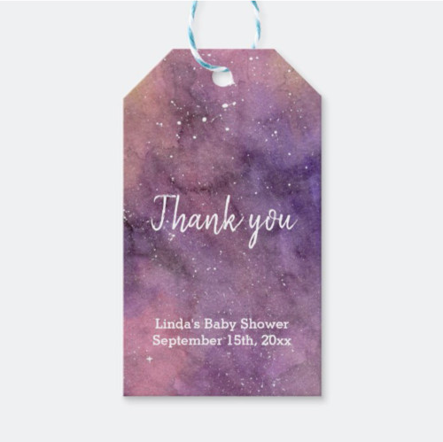 Purple Galaxy Watercolor Baby Shower Thank You Gift Tags