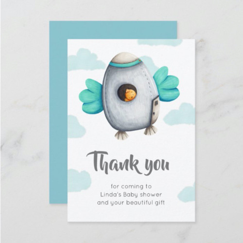 Spaceship with Bird Baby Shower Thank You Card