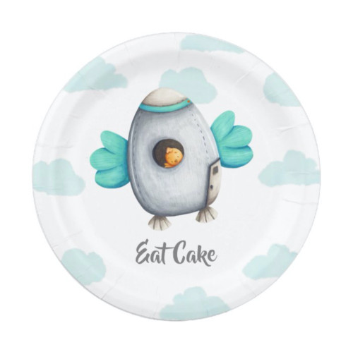 Eat Cake Cute Bird in Space and Clouds Party Paper Plate