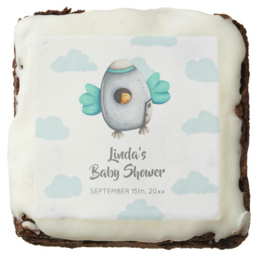 Cute Astronaut Chicken Baby Shower Personalized Brownie