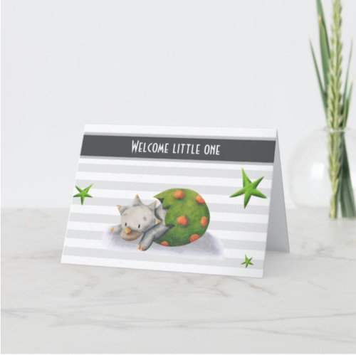 Welcome Little One Dinosaur New Baby Card