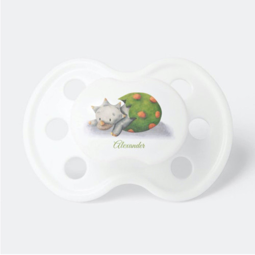 Cute Triceratops Dinosaur Hatching Personalized Pacifier