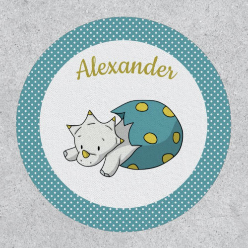 Neutral Blue and Yellow Dinosaur Baby Personalized Patch