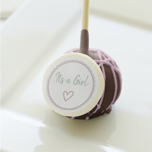 It's a Girl Pink Minimalist Baby Shower Cake Pops